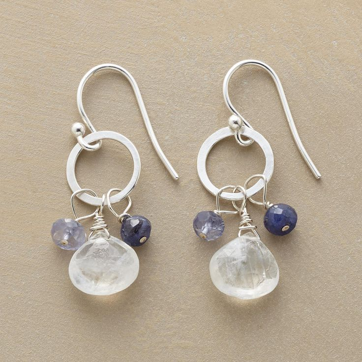 "PIROUETTE EARRINGS�--�Three gems pirouette on each sterling silver hoop: a moonstone briolette plus iolite and blue sapphire rondelles. French wires. Exclusive. Handmade in USA. 1-1/4""L."