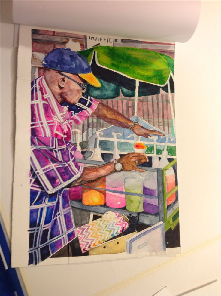 """Carolyn Dee Flores - Photo of Watercolor Painting on Arches for A SURPRISE FOR TERESITA - """"snowcone vendor"""" - early study"""