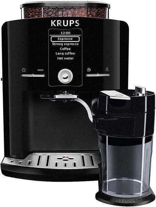 Krups EA8298  Krups EA8298 koffiemachine Met deze Krups EA8298 koffiemachine maak je in een handomdraai je favoriete koffiespecialiteit. Dit compacte One Touch Cappuccino-apparaat kun je zo instellen dat je met één draai aan de knop de lekkerste cappuccino's espresso's en latte macchiato's maakt. Stel zelf de maalgraad in en geniet elke keer weer van het perfecte kopje koffie. Dankzij het automatische reinigingssysteem ben je er zeker van dat elk kopje koffie heerlijk vers is. Jij hebt geen…