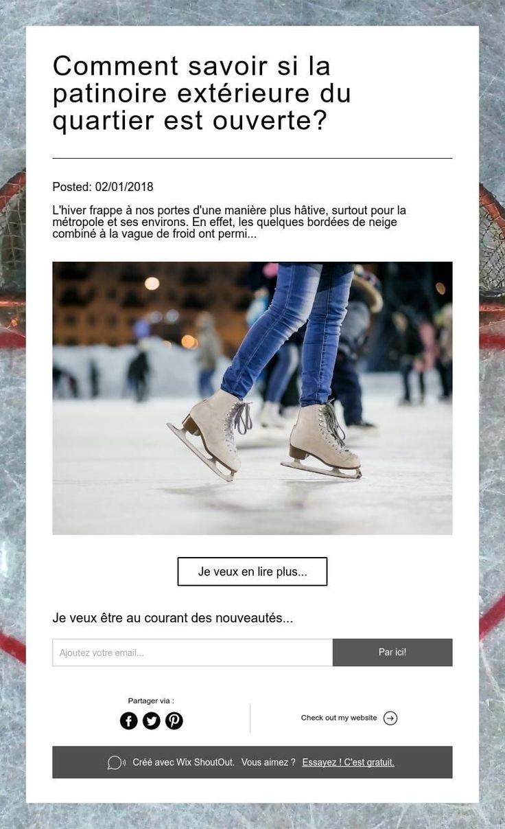 Comment savoir si la patinoire extérieure du quartier est ouverte?