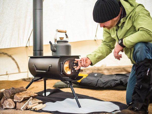 Frontier Plus is an innovative portable woodburning stove that you can install in tents, tiny house, teepees, or outside for efficient outdoor cooking and heating.