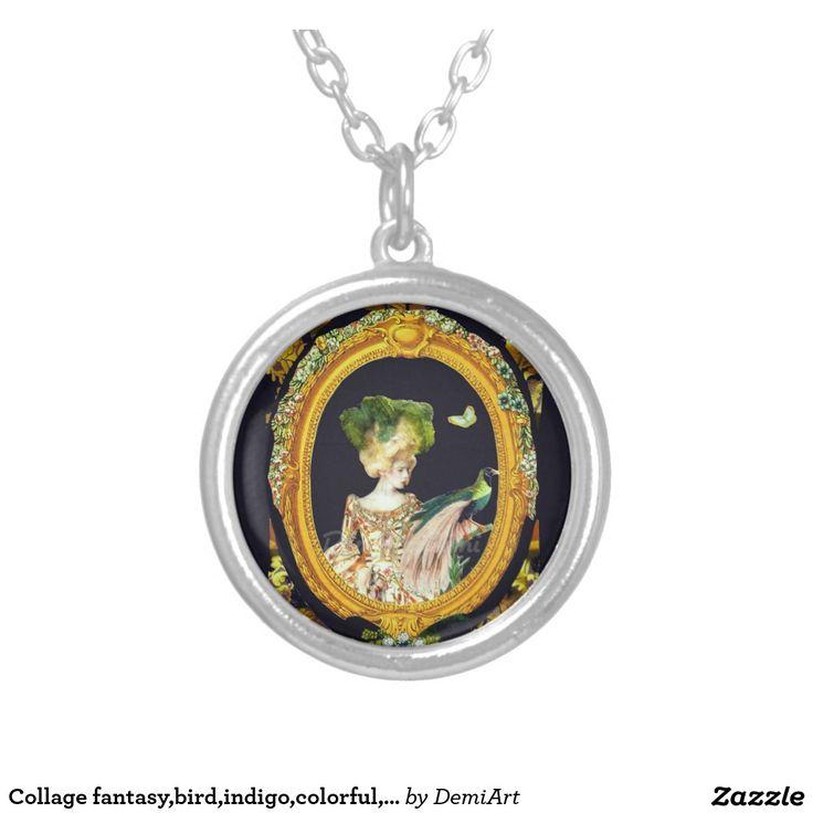 Collage fantasy,bird,indigo,colorful,rococo. round pendant necklace
