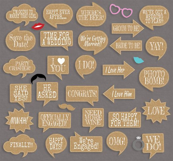 Chic Wedding Party speech bubbles props, diy photo booth printables - 29 x Speech Bubbles, 6 x items!  Just purchase the digital file to print and cut out at home.  ---------------------------------------------------------------------------------------------------  - - - LISTING INCLUDES - - - 1. 29 x Printable Speech Bubbles 2. 6 x items 3. Photobooth sign  2 PDF documents for easy printing.  This listing is for a digital file(s) of design shown only. All Digital Files will be sent as…