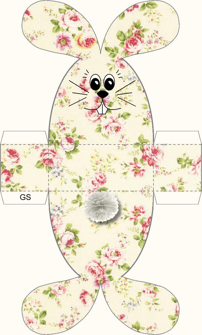 boite lapin motif fleuri