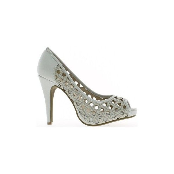 Chaussmoi Pumps openwork open grey matte heels 11cm and 3cm platform... (£31) ❤ liked on Polyvore featuring shoes, pumps, court shoes, grey, women, grey platform pumps, grey platform shoes, gray pumps, platform shoes and gray platform pumps