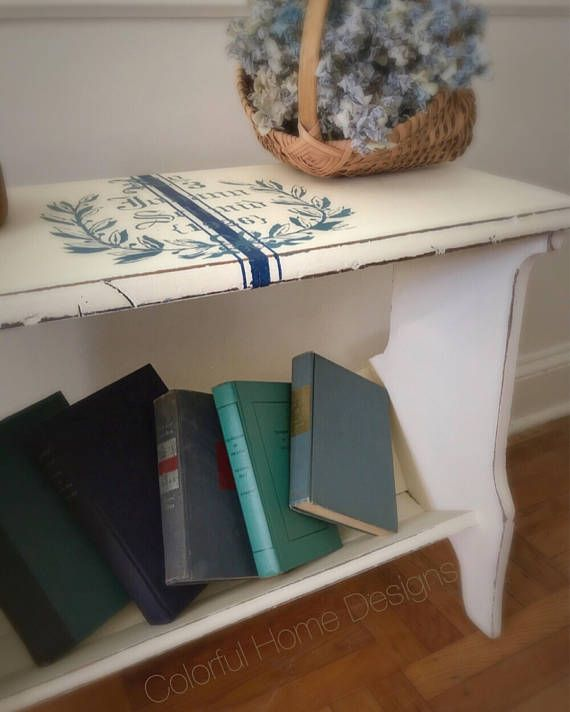 Rustic Farmhouse Bench Bookcase Painted Bookcase Bench