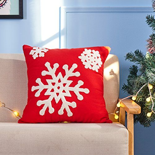 Red Embroidery Christmas Pillow Covers Set Of 4 BLUETTEK Happy New Year Sled