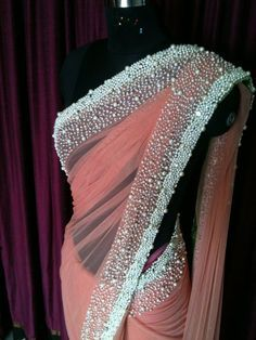 pearl work coral sarees - Google శోధన
