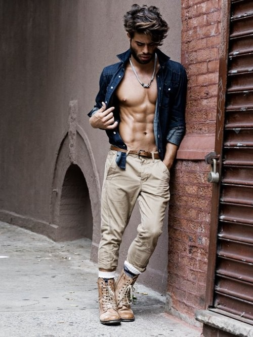 khaki pants + denimshirt + brown leather combat boots ...