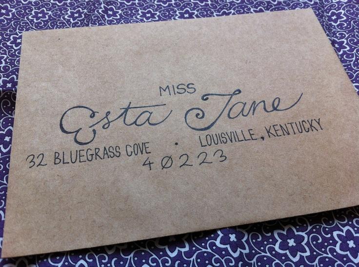 Wedding invitation envelopes hand written addressing