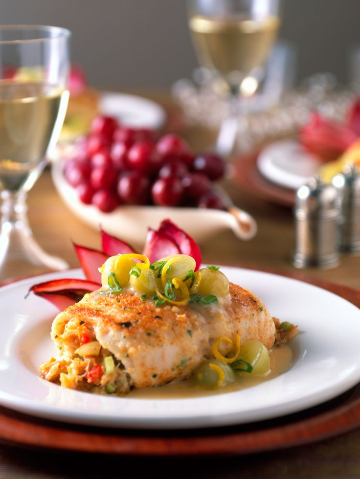 Stuffed Sole Fillets with Crab and Grapes