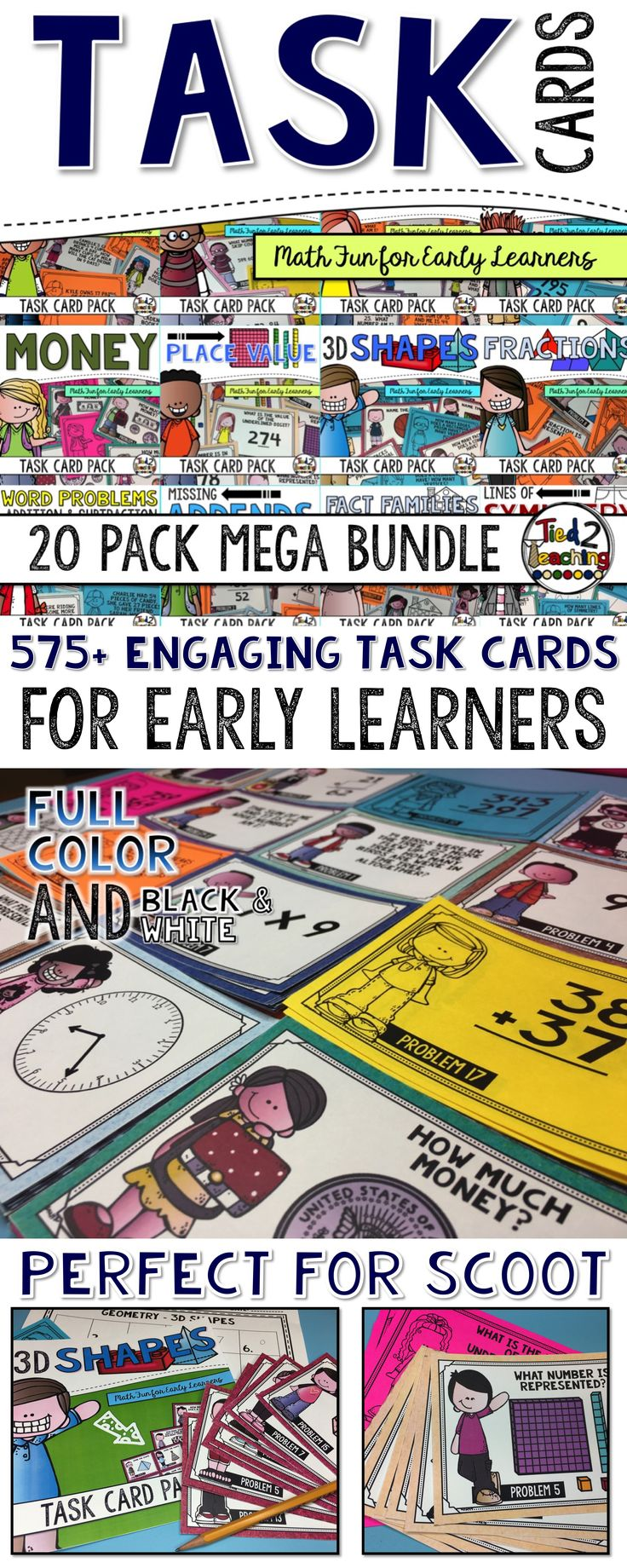 This math task card bundle with 20 set for increasing number sense. Perfect for small groups, whole class instruction, math centers, or activities like SCOOT or Around the Room. Differentiated learning for grades K-3.
