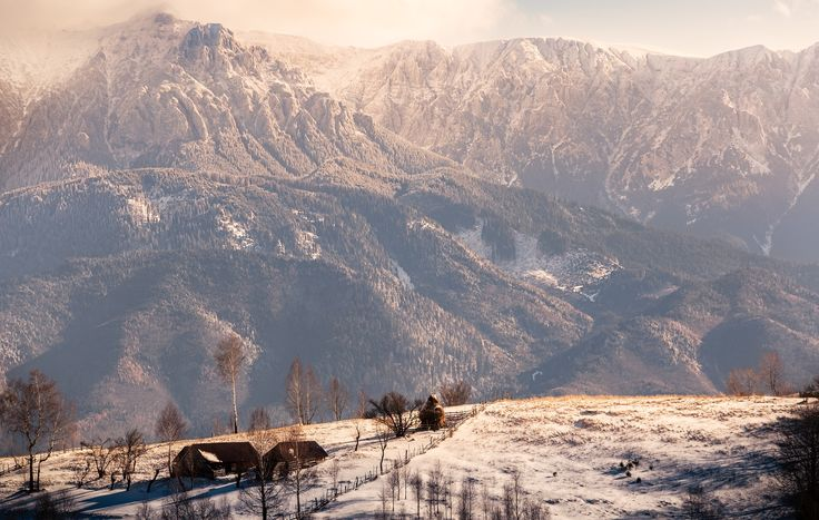 Bucegi - A clear view towards Bucegi Massif on a cold winter day