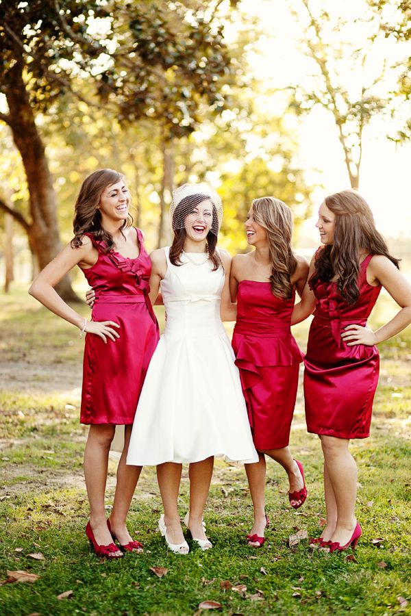 scarlet bridesmaids dresses make a great red wedding theme love the short wedding dress too