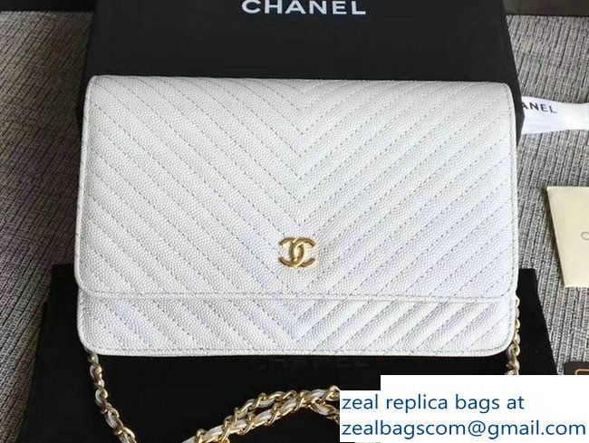 80747fe89c77 Chanel Caviar Leather Chevron Wallet On Chain WOC Bag Pearl Silver/Gold 2017