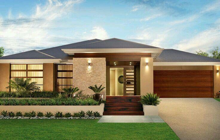 Single Floor Home Front Design Pin Myrln On Cabellooo Pinterest Single Storey House 736 X 471 Pixe Facade House Contemporary House Plans House Designs Exterior