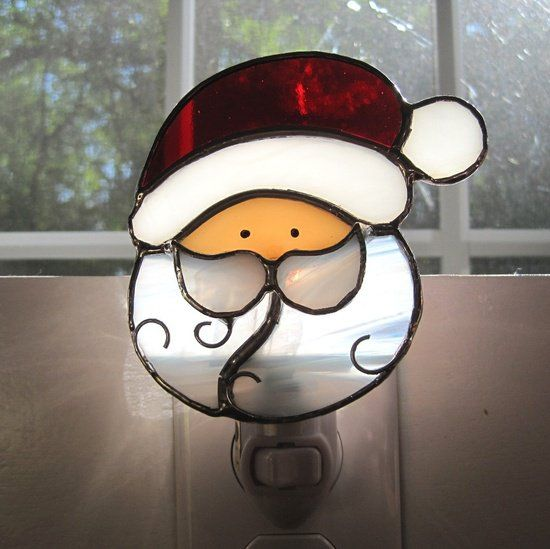 stained glass patterns of santa | Santa Claus Stained Glass Night Light by hobbymakers on Etsy