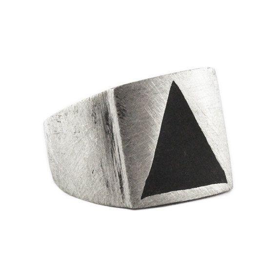 Man Triangle Ring Silver Signet Rings Carpe by carpediemjewellery
