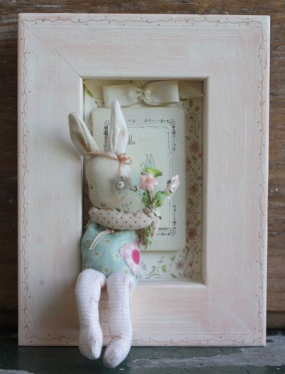 Darling Hello a charming three dimensional mixed media sculpture, hand sewn bunny nestled in a wooden frame, one of a kind and very special, 8x6 $95