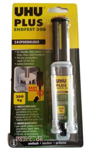UHU plus endfest 300 2-K-Epoxidharzkleber  Lösungsmittelfreier Zweikomponenten-Klebstoff auf Epoxidharzbasis für höchste Belastungen. Die Verarbeitungszeit beträgt bis zu 120 Minuten. Härtezeit und Endfestigkeit (bis zu 3000N/cm2) sind temperaturabhängig. Bei Raumtemperatur nach 12 Stunden fest. Die Klebeverbindung ist schlagfest, alterungs- und feuchtigkeitsbeständig.