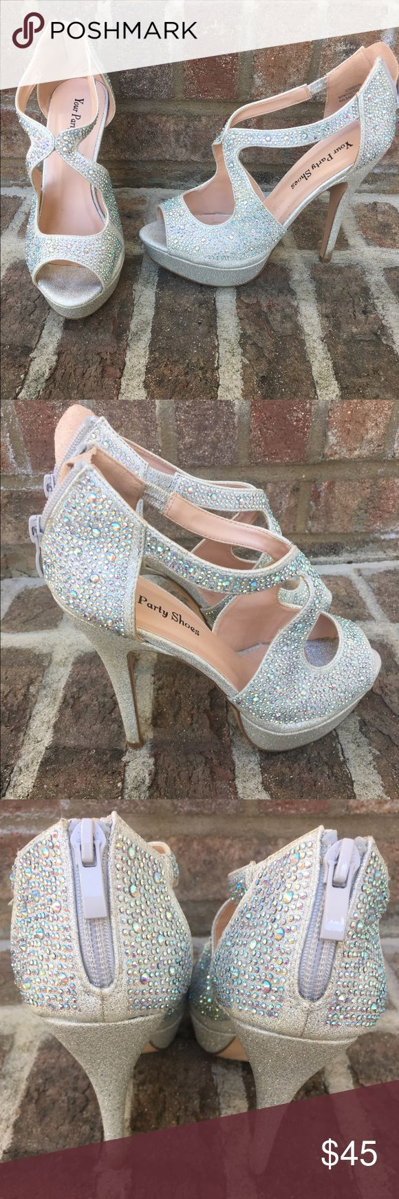 Silver Sparkle Prom Shoes Size 7 silver sparkle heels! Worn once for prom! Zipper up the back! Smoke Free Home! Shoes Heels