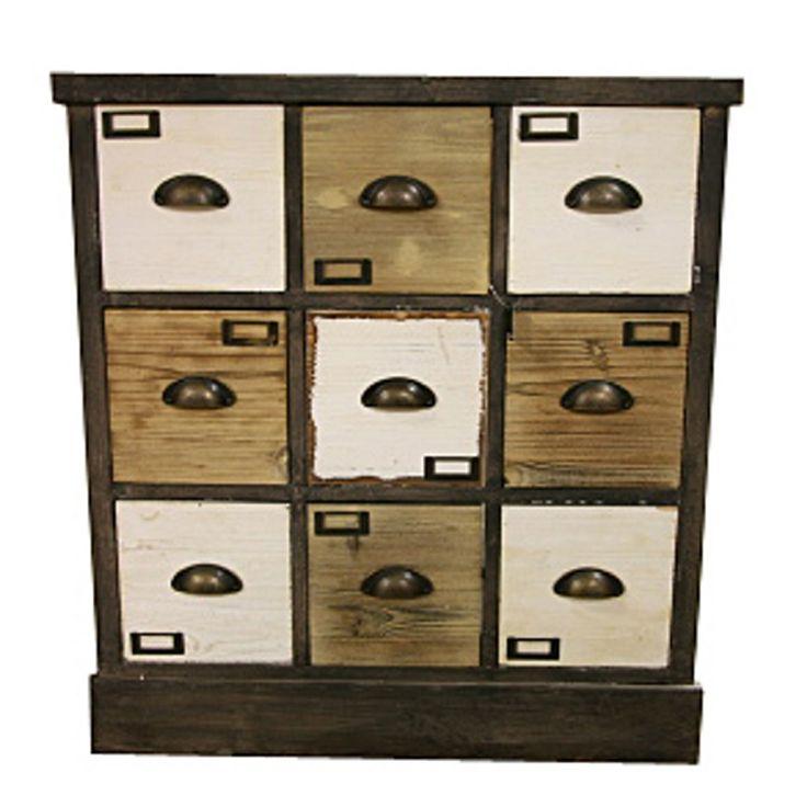 Wooden byrå 9 lådor | Chilli