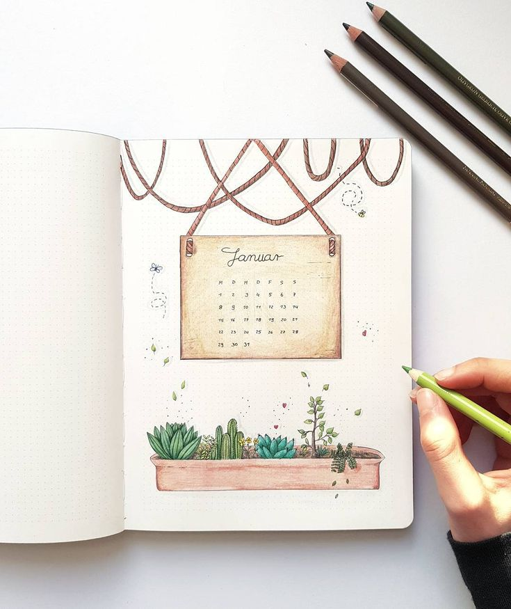 Bullet journal monthly cover page, January cover page, plant drawing. | @vin.ne.ye