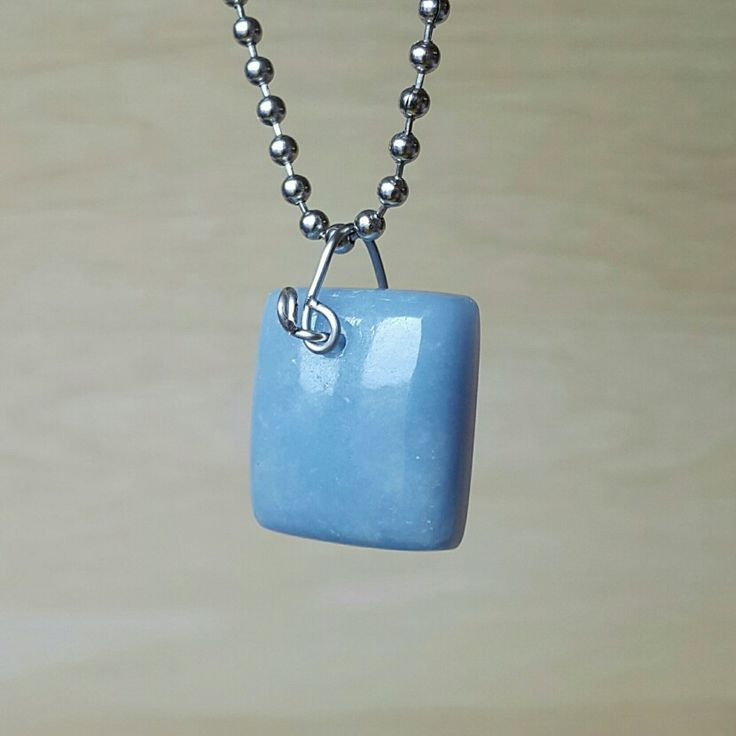 #Angelite peru stainless #Wire #Pendant