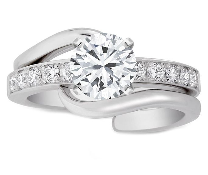 Bridal Set: Engagement ring & matching Wedding Band Interlocking