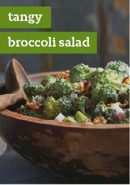 Tangy Broccoli Salad – Here's a broccoli salad that's sure to please everyone, with a sweet and tangy dressing and bits of crumbled bacon, it's the perfect addition to any dinner table or potluck!