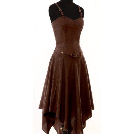 Deze prachtige jurk is een mooie basis voor een steampunk outfit of gewoon om in de zomer te dragen. De riem kan ook verwijderd worden en de jurk kan prachtig gedragen worden met een steampunk korset.