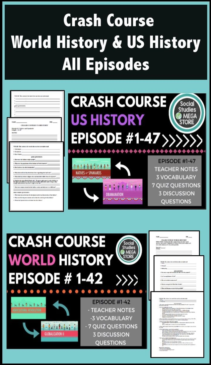 If you are looking for a full year of World and US History try my first and  second-semester crash course. You will get the note taking a guide for  students, ...