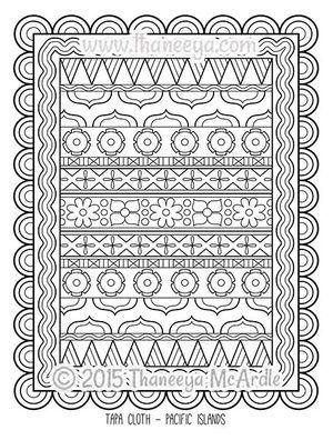 folk art coloring book tapa cloth by thaneeya