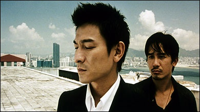 Infernal Affair. Later, the US adapted it and came out with The Departed starring Matt Damon and Leo DeCap. Here is the original hotties, Andy Lau and Tony Leung. One of the BEST movies in all of HK cinema!