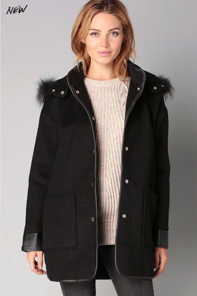 Manteau à capuche noir Elfie Suncoo prix Manteau Femme Monshowroom 262.00 €