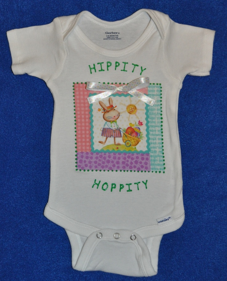 "Baby Boy Easter/Springtime ""HIPPITY HOPPITY"" Onesie, Colorful with Decorative Ribbon Bow, Short/Long Sleeve.  Image of a springtime scene on fabric is bonded to a onesie, and green fabric paint outlines the image. ""HIPPITY HOPPITY"" is painted on with green fabric paint. As an added touch, a decorative ribbon bow is firmly attached.  Available in many sizes.  Available in short sleeve and long sleeve.      https://www.etsy.com/listing/124761843/baby-boy-easterspringtime-hippity"