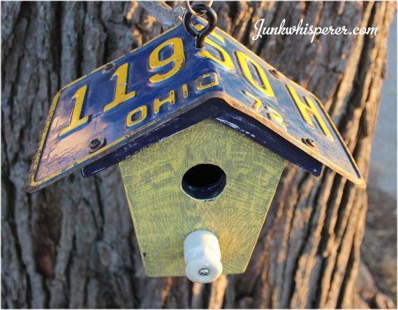 Vintage License Plate Ohio 72 Birdhouse by JunkWhisperers on Etsy