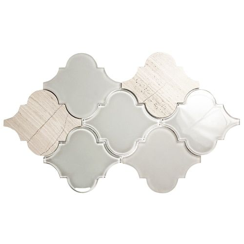 Shop Clover Arabesque Grigio Mosaic Glass Tile. The soothing colors of this arabesque tile gives a Moroccan influence to any backsplash or fireplace surround.