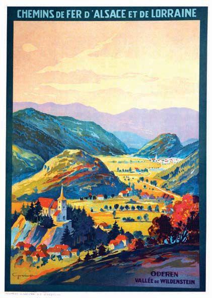 Vintage Railway Travel Poster - Oderen - Vallée de Wildenstein -France - 1925.