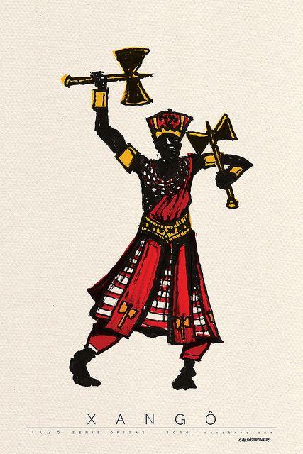 Xangô é o orixá da justiça, dos raios, do trovão e do fogo. De origem iorubá, seu mito conta que foi rei da cidade de Oyo, Xangô era forte, valente, destemido e justo. Era temido, e ao mesmo tempo adorado. Comportou-se em algumas vezes como tirano, devido a sua ânsia de poder.