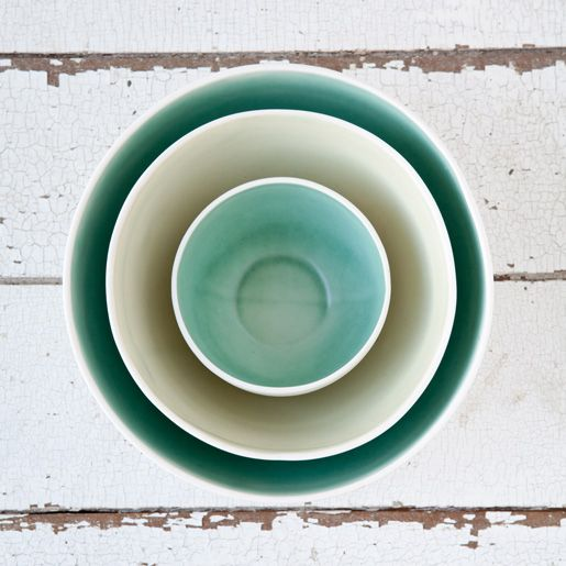 nesting bowls in soft greens and blues