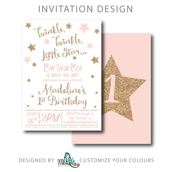 5×7 Invitation – Personalized and Customizable Twinkle Twinkle Little Star Invitation.  We can custom colour match too!  Just upload a sample colour for us to match to and we will always provide a proof before sending off the final version.
