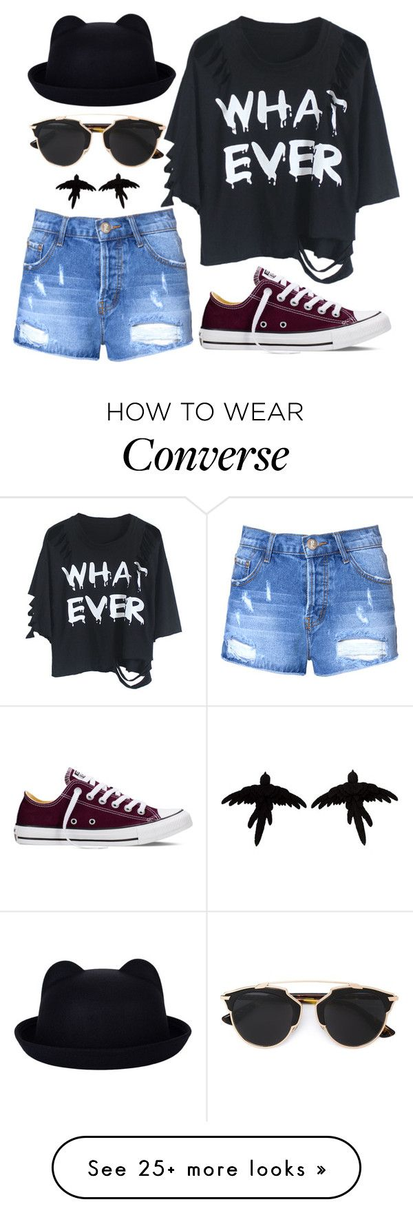 """""""Distressed Denim"""" by joslynaurora on Polyvore featuring Glamorous, WithChic, Converse, Christian Dior, olgafacesrok, women's clothing, women, female, woman and misses"""