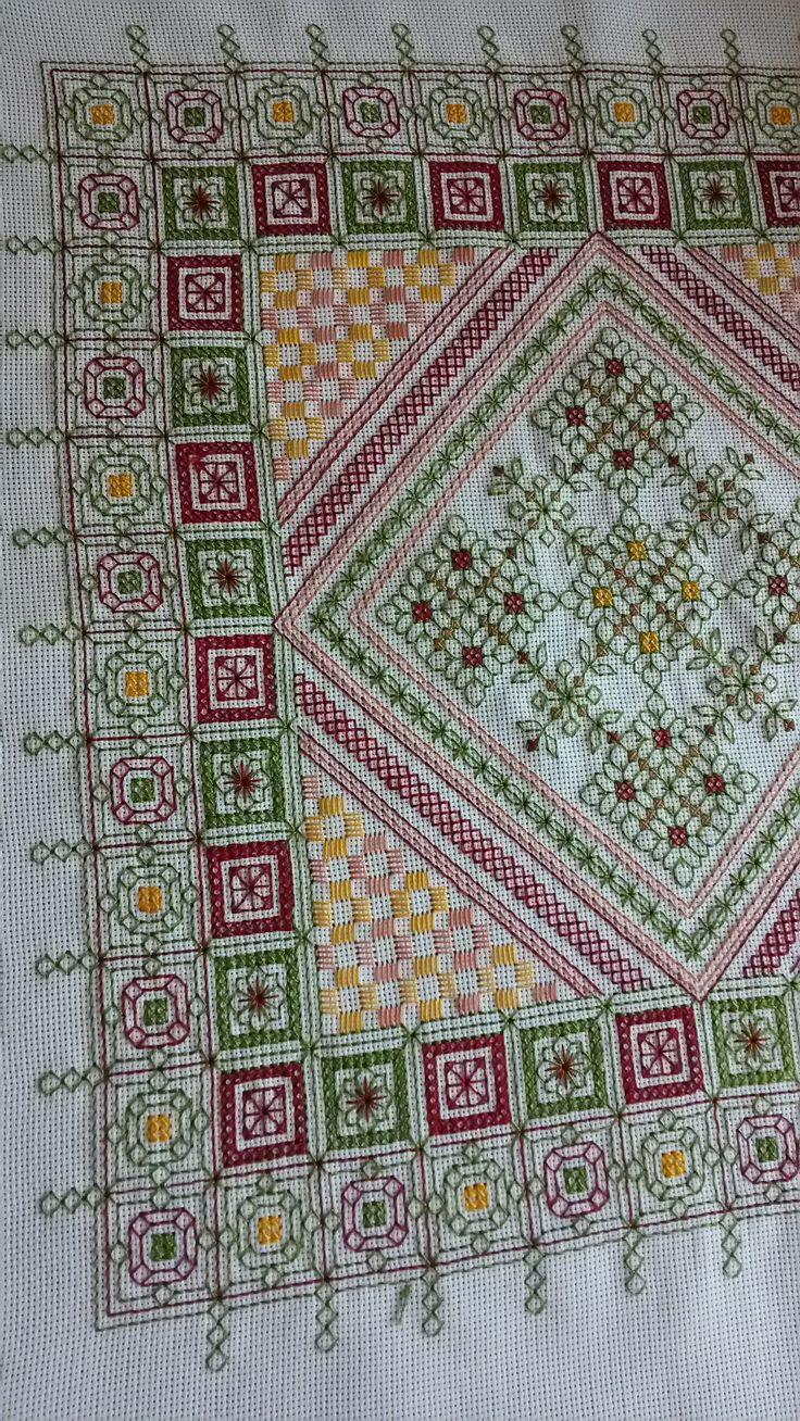 Tablecloth - blackwork, cross stitch & lagerta