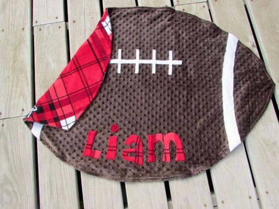 Wisconsin Badgers Football Minky Baby Blanket by LovePitterPatter  #WisconsinBadgersBaby  #FootballBabyShower
