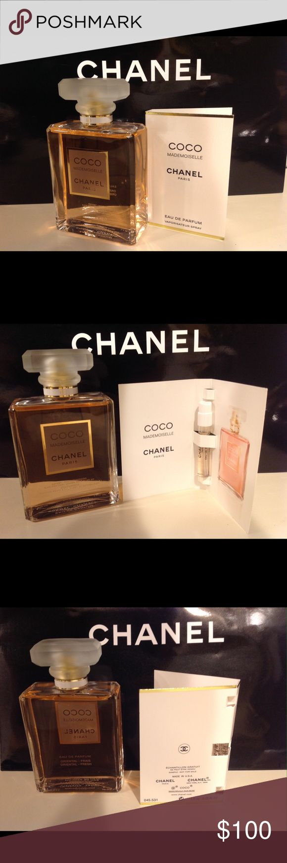 CHANEL COCO MADEMOISELLE 3.4 oz plus 1.5ml sample This is a full bottle of Coco Mademoiselle Chanel 3.4oz Eau de Parfum made in France plus one sample.  This is a wonderful smelling fragrance from Chanel I like this one the best out of them all. This is 100 % authentic Tester bottle which is the same as retail bottle, they just use them as testers. Make a great holiday gift. Chanel never goes on sale. Dont miss this offer. I will include the Chanel bag if you want it.  See photos for more…
