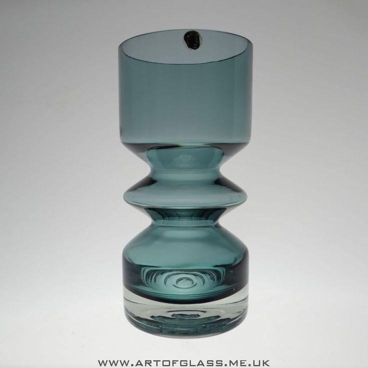 Riihimaki steel blue glass vase designed by Tamara Aladin