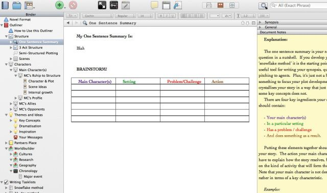 Scrivener Template -- Scrivener is software that allows you to easily organise a large writing project, so that you can easily switch between scenes, arrange scenes into chapters, store your research, sort, categorise, and search. Then when you're ready, you hit a button and it spits out a formatted manuscript or e-book.