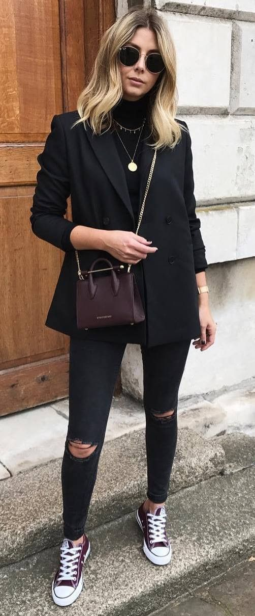 casual style obsession / bag   blazer   high neck top   rips   converse
