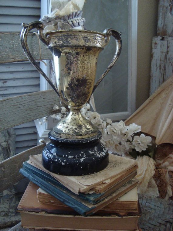 LOVELY Vintage Shabby Oxidized Trophy Cup